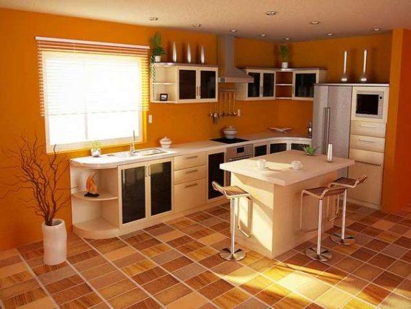 кухня из мебельных щитов с островом