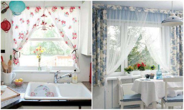 яркие короткие занавески на окне кухни