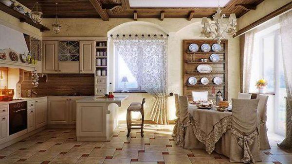 в деревянном доме кухня в стиле прованс
