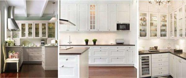 белая рабочая зона в интерьере кухни в классическом стиле