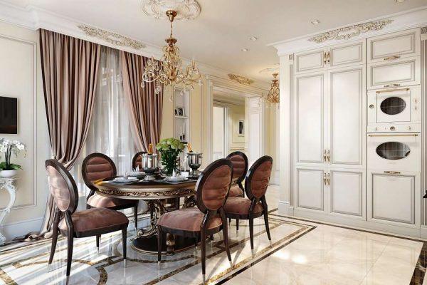 обеденная зона в интерьере кухни в классическом стиле