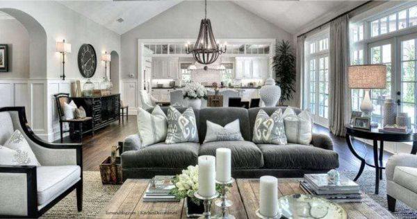 стильный интерьер кухни гостиной в классическом стиле