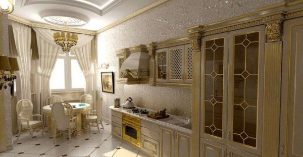 позолота на кухне в классическом стиле