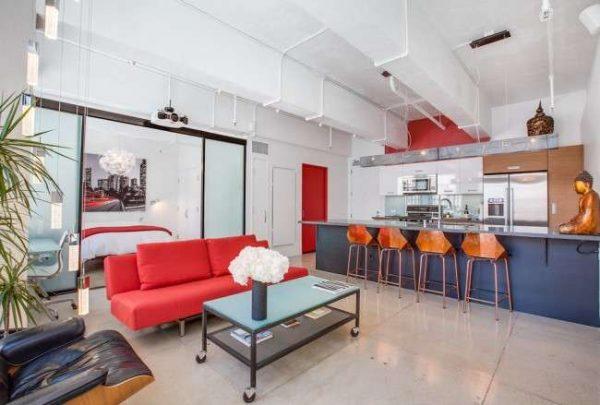 Интерьер кухни в однокомнатной квартире студии