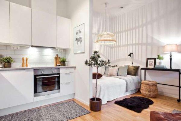 белый интерьер кухни со спальной зоной в однокомнатной квартире