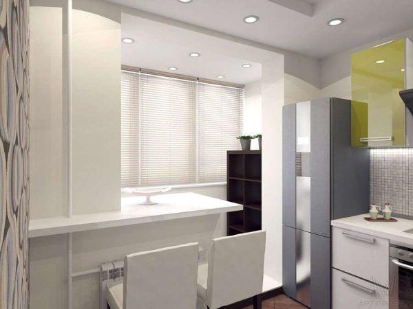 в однокомнатной квартире балкон совмещённый с кухней