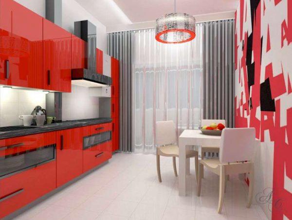 красный интерьер кухни в однокомнатной квартире