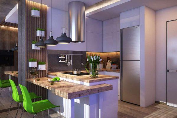 освещение на кухне в однокомнатной квартире