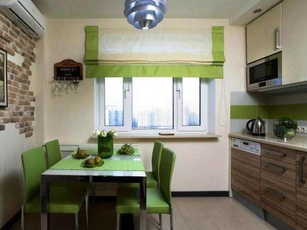 коричнево-зелёная кухня в однокомнатной квартире