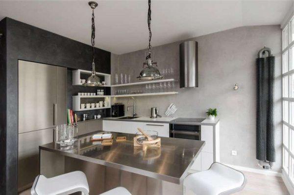 стены бетонные на кухне в стиле хай тек