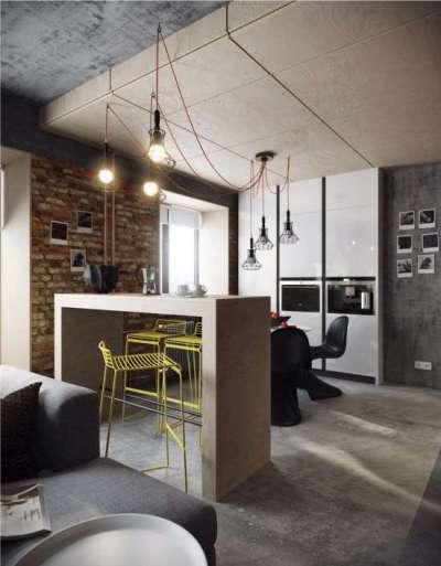 потолок в интерьере кухни в стиле хай тек