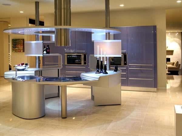 интерьер кухни в стиле хай текс подсветкой