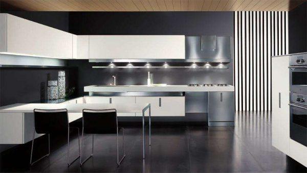 серые полы в интерьере кухни в стиле хай тек