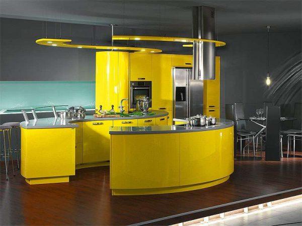 жёлтый цвет на кухне в стиле хай тек