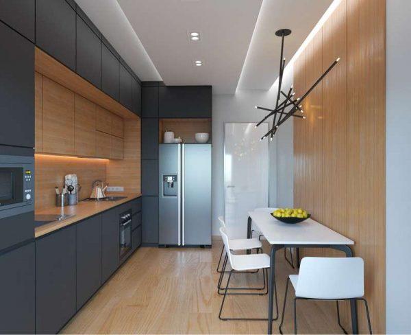 деревянные панели на стене кухни в стиле хай тек