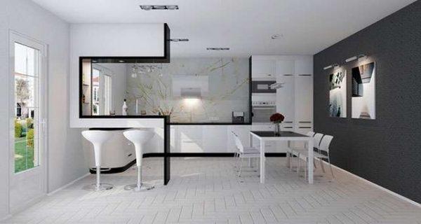 интерьер чёрно-белой кухни в стиле хай тек