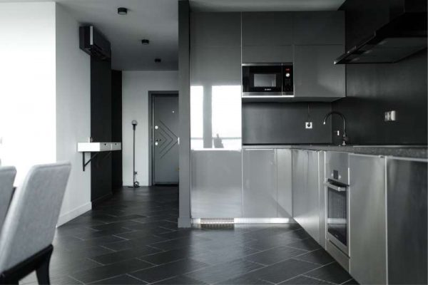 глянцевые фасады на кухне в стиле хай тек