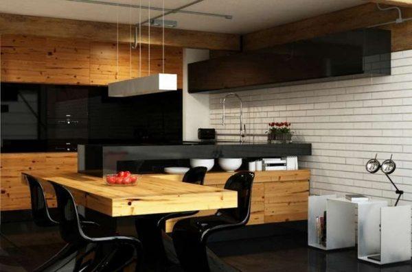 массивные фасады из дерева на кухне в стиле хай тек