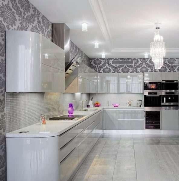 виниловые обои в интерьере кухни в стиле модерн