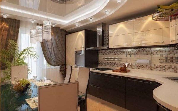 кафель на фартуке в интерьере кухни в стиле модерн