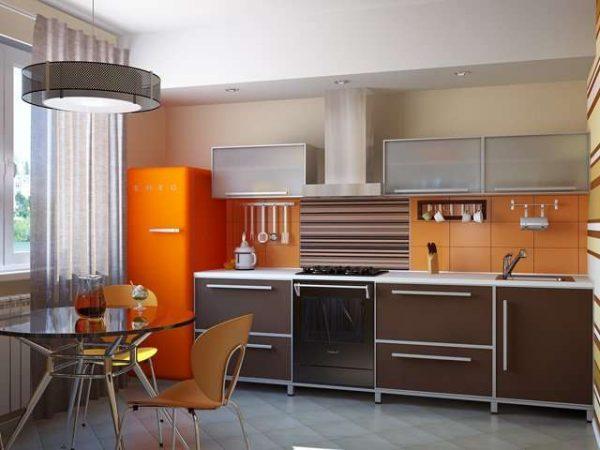 оранжевый холодильник на кухне в стиле модерн