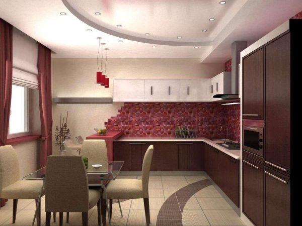 винный цвет на кухне в стиле модерн