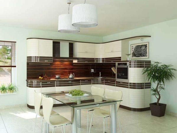кухонный гарнитур с закруглёнными торцами модерн