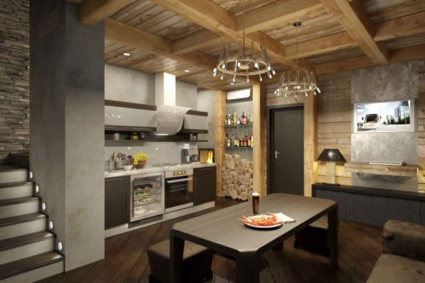 современный интерьер кухни в стиле шале