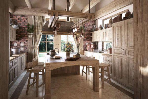 деревянный гарнитур на кухне в стиле шале
