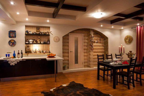 белые стены на кухне в стиле шале