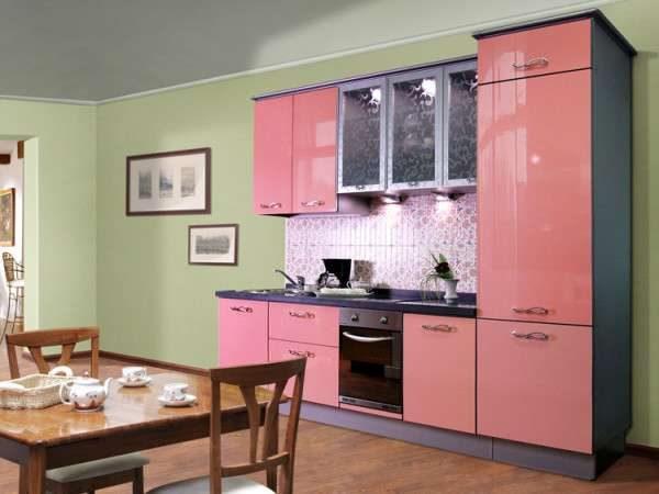 розовый и зеленый цвет в интерьере кухни