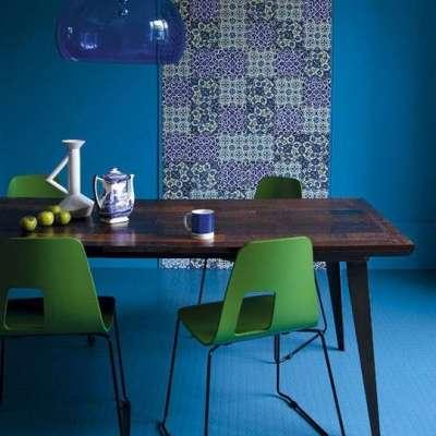 зеленый и синий цвет в интерьере кухни