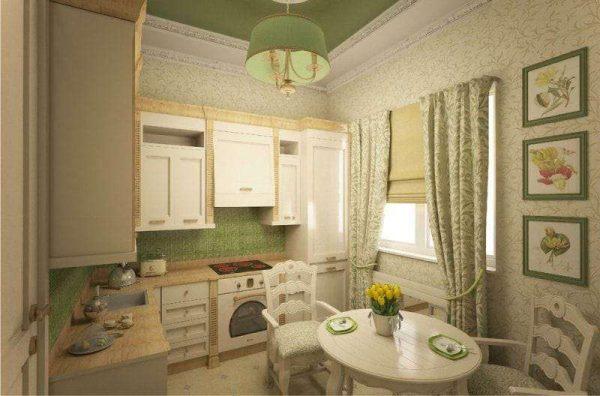 зелёный цвет на потолке в интерьере кухни