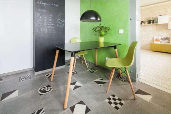 зеленая стена на кухне в интерьере