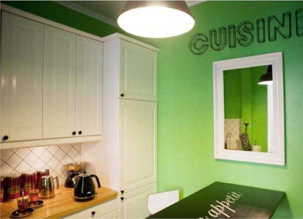 зелёный на стене в интерьере кухни