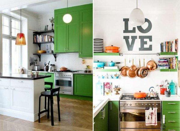 зелёные шкафы в интерьере кухни