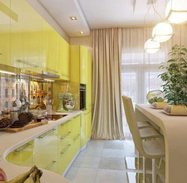 светло зелёный угловой гарнитур в интерьере кухни