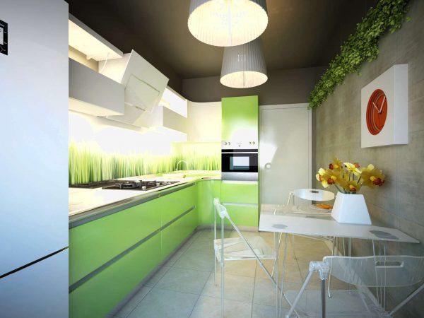 зелёный гарнитур в интерьере кухни