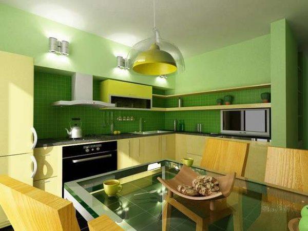 зеленый цвет стен в интерьере кухни
