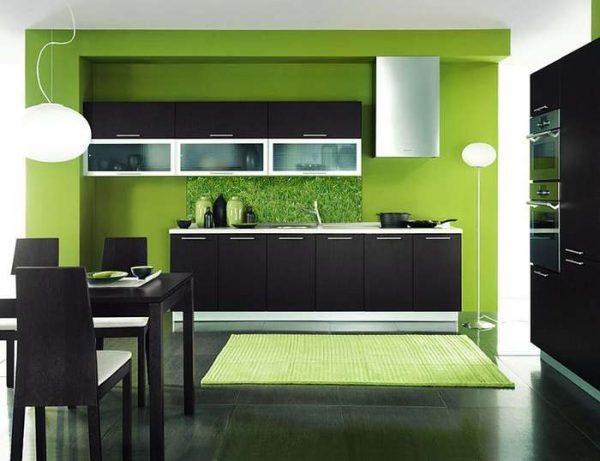зеленый цвет стены в интерьере кухни