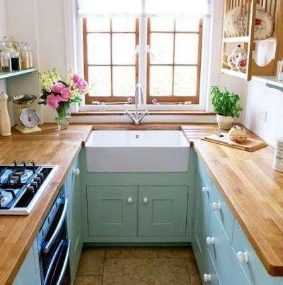интерьер маленькой кухни мятного цвета