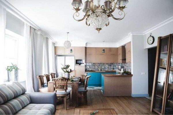 зонирование кухни гостиной освещением