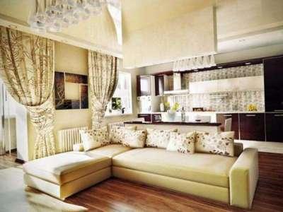 шторы с подхватом в интерьере кухни гостиной