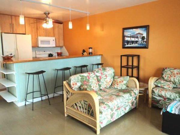 два маленьких дивана в интерьере кухни гостиной
