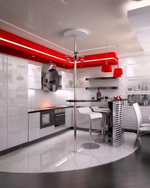 потолок и пол в качестве зонирования на кухне гостиной