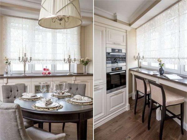 прозрачные римские шторы в интерьере кухни