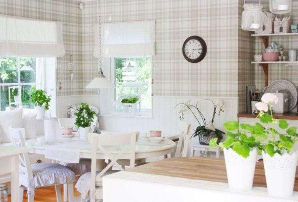белые римские шторы в интерьере кухни