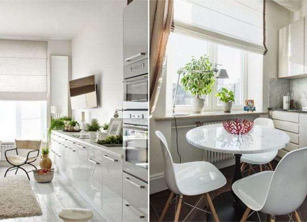 светлые римские шторы в интерьере кухни
