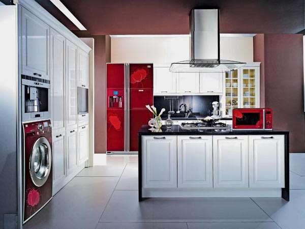 стиральная машина с наклейками декоративными в интерьере кухни