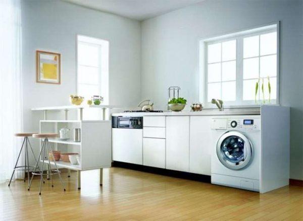стиральная машина в интерьере белой кухни